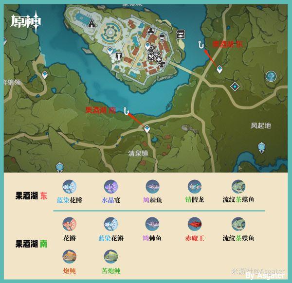 原神-2.1版全釣魚位置分享及魚類分布 3